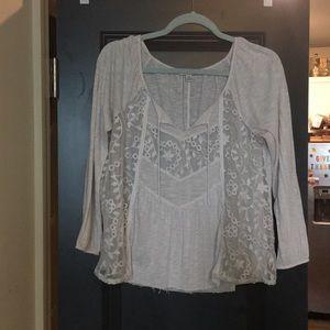 American eagle boho beachy off white blouse